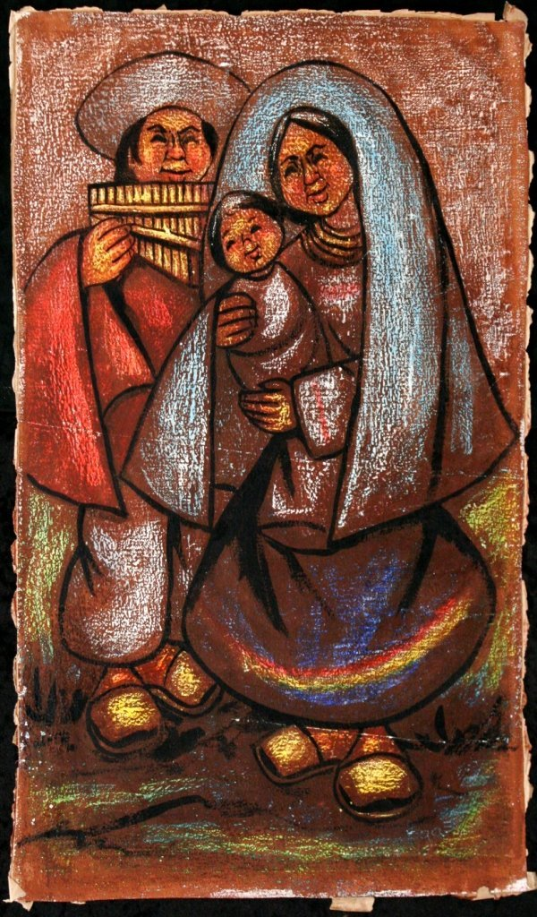 72: Camilo Egas (1889-1962) Family, Oil, ink and pastel