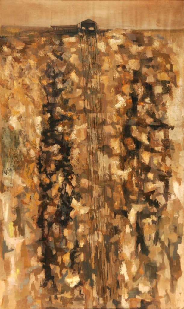 78: Artist Unknown (20th Century) Stratigraphy, Oil on