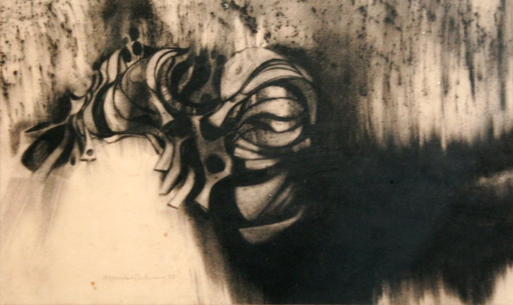 81: Artist Unknown (20th Century) Untitled, Charcoal on