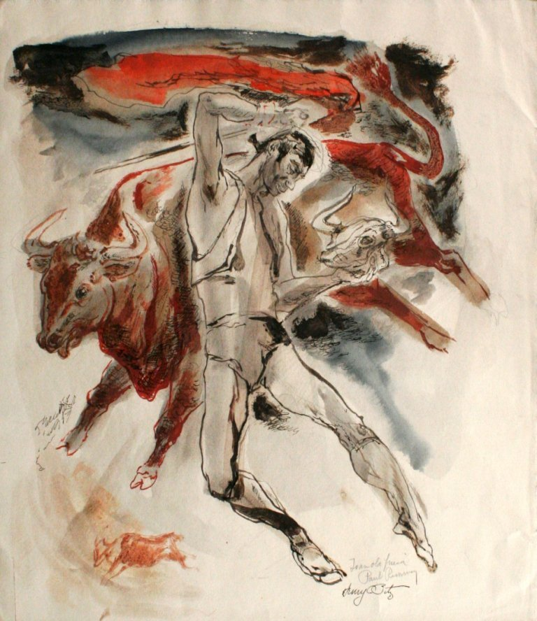 82: Henry Clarence Pitz (1895-1976) Man with Bull, Wate