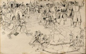 Lyle Justis (1892-1960) Colonial Scene, Ink On Pape