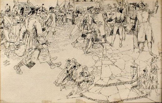 86: Lyle Justis (1892-1960) Colonial Scene, Ink on pape