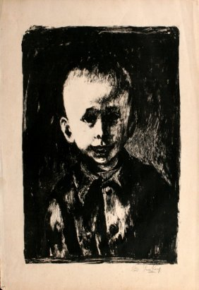 Sam Kaner (1924 - 1990) Portrait Of A Boy, Lithogra