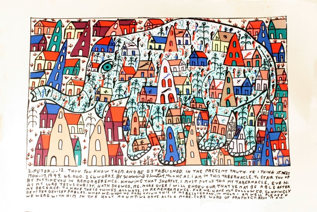 94: Howard Finster (1916-2001) Elephant, Silkscreen,