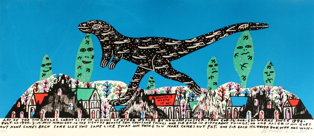 95: Howard Finster (1916-2001) Lizard, Silkscreen,