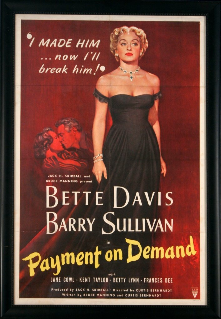 96: 'Payment on Demand' Vintage Movie Poster, 1951.