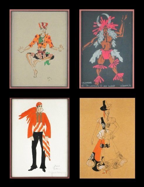 117: A Group of Four Framed Costume Illustrations,