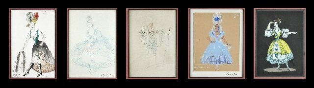 118: A Group of Five Framed Costume Illustrations,