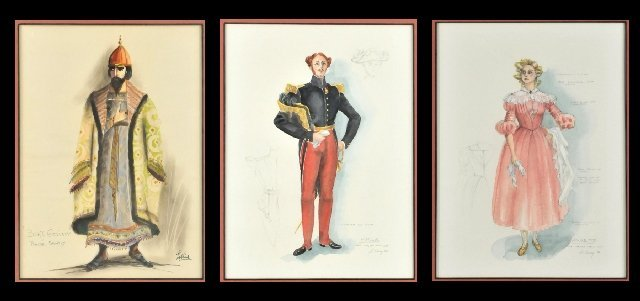 120: A Group of Three Framed Costume Illustrations,