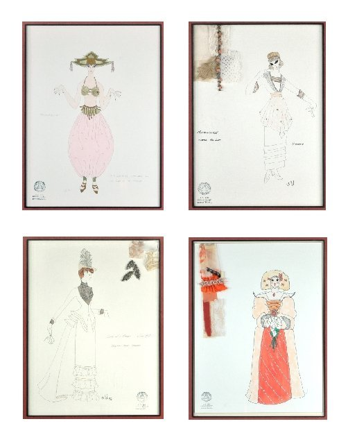 121: A Group of Four Framed Costume Illustrations,