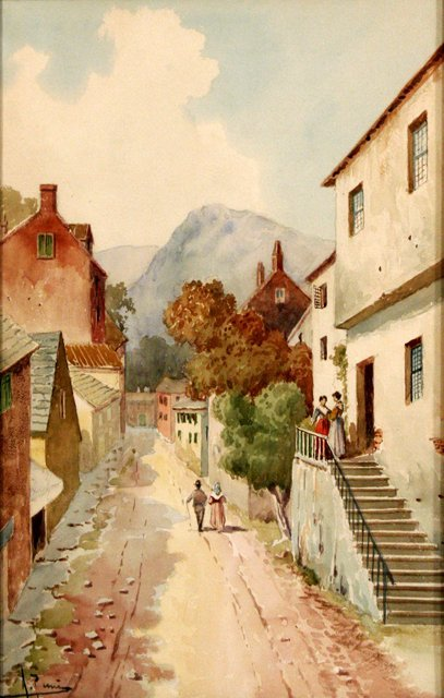 124A: Artist Unknown (20th Century) Village Scene, Wate