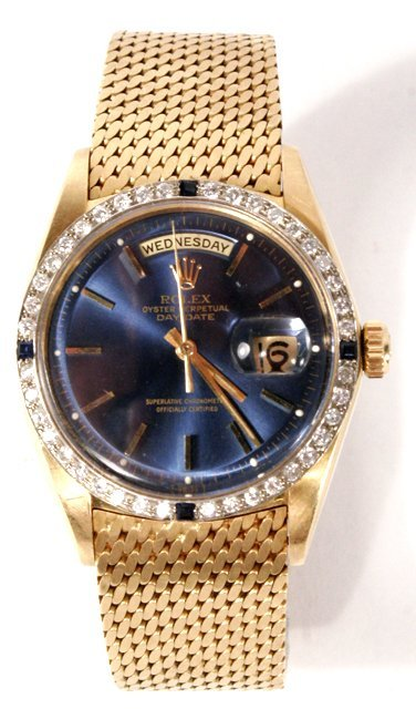 131: A Rolex President 18kt. Yellow Gold, Diamond and S