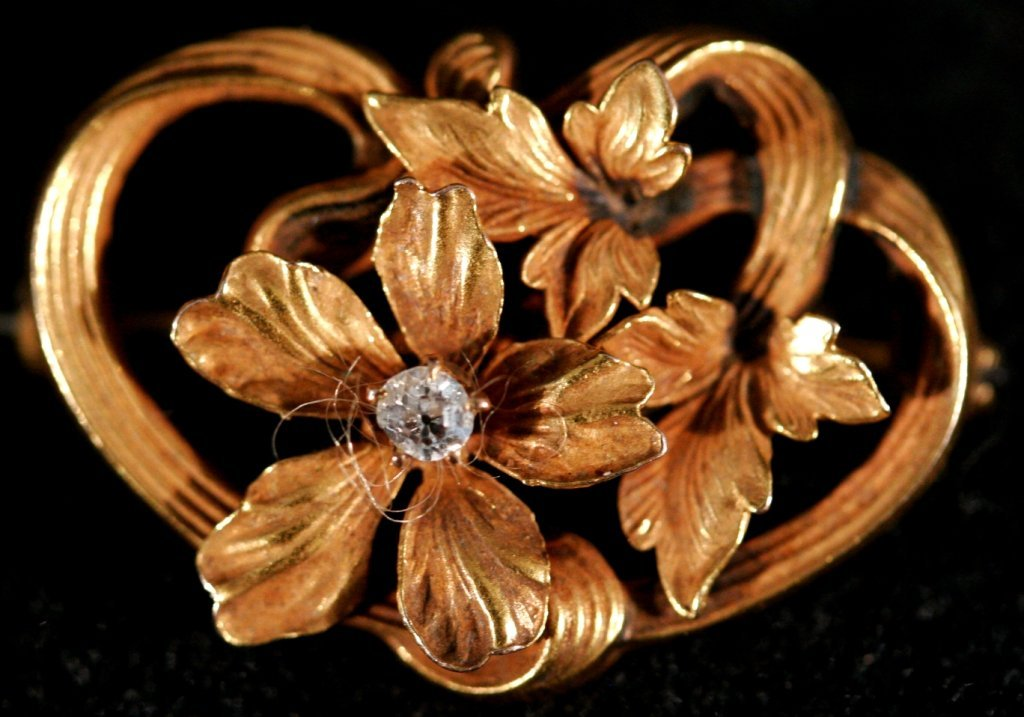 144A: A 10kt. Yellow Gold and Diamond Brooch and Stick  - 2