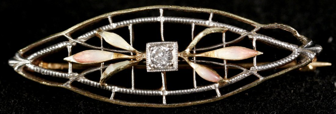 144A: A 10kt. Yellow Gold and Diamond Brooch and Stick  - 3