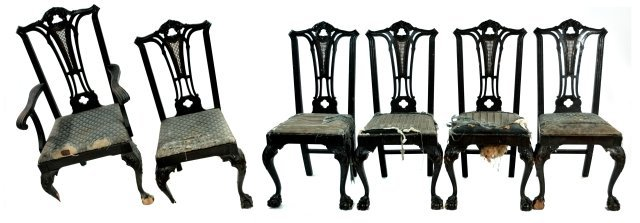 210: A Set of 6 Chippendale Style Mahogany Dining Chair