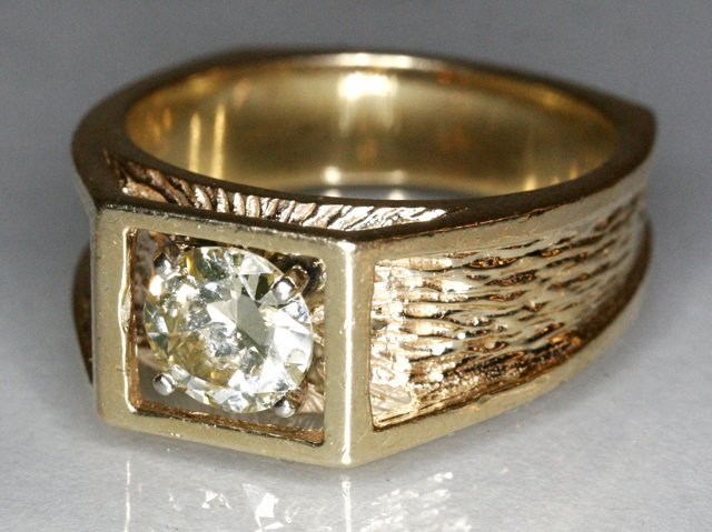 137A: A Men's 14kt.  Yellow Gold and Diamond Ring,