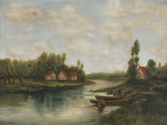 2: Artist Unknown (19th Century) River Landscape with F