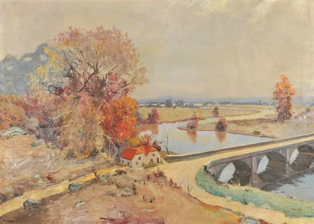 8: Ralph N. Cone (20th Century) Landscape with River, O