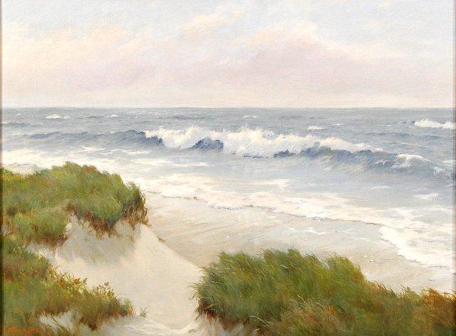 13: L. Reynolds (20th Century) Beach Scene, Oil on canv