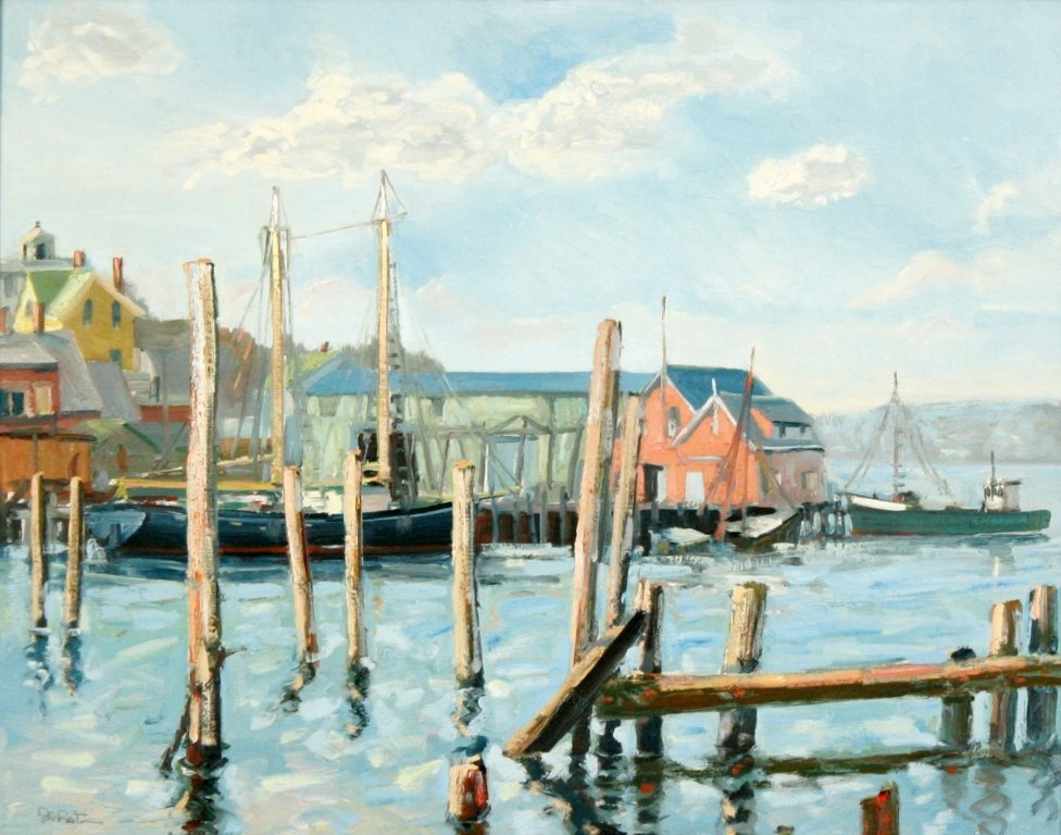 22A: John Nesta (20th Century) Harbor Scene, Oil on boa
