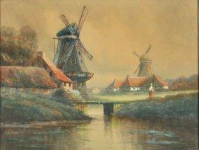Henry De Le Coevillerie (19th Century) Windmill Sce