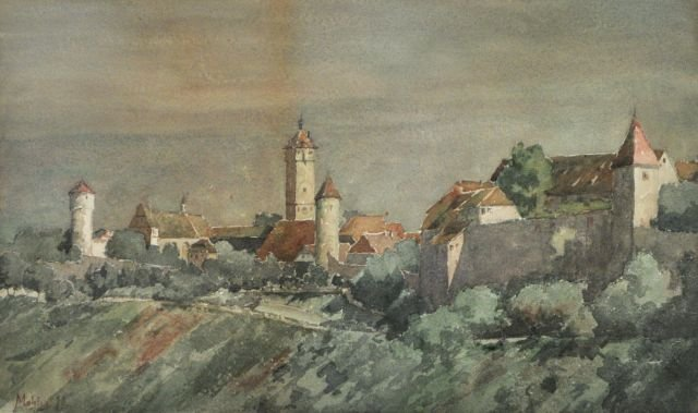 79: Gustave Mohler (b.1836) Village Scene, Watercolor,