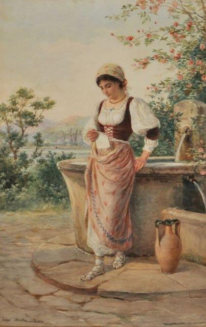 81: Luigi Olivetti (1856-1941) At the Fountain, Waterco