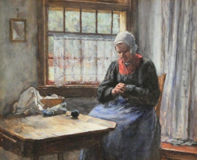 83: Hendrik Valkenburg (1826-1896) Mending, Watercolor
