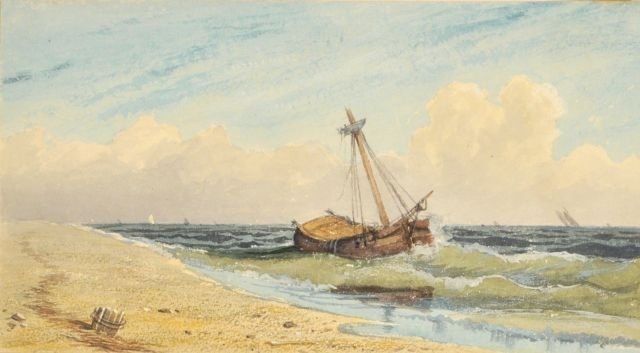 84: George Robert Bonfield (1805-1898) Beach Scene, Wat