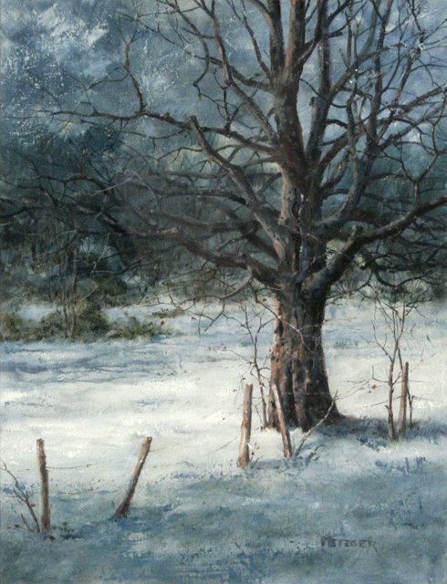 87: Phil Metzger (20th Century) Winter Scene with Tree,