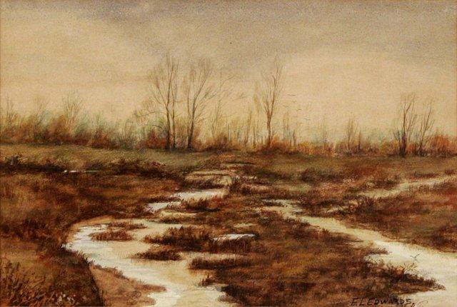 89: E. L. Edwards (20th Century) Marshland, Watercolor,