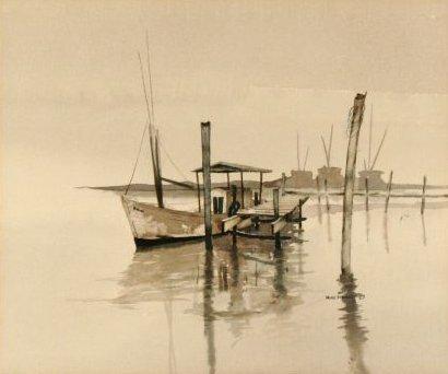 90: Wayne Spradley (b.1937) Harbor Scene, Watercolor on