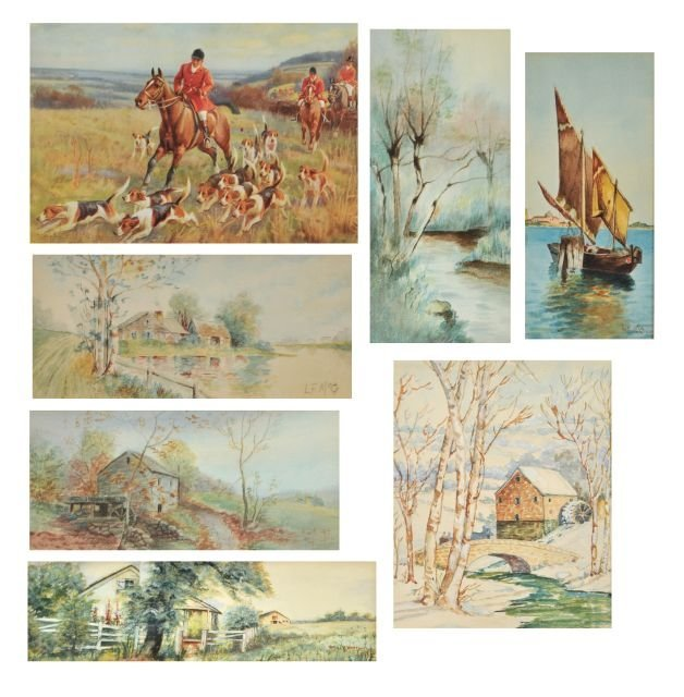 91: A Group of Framed Decorative Watercolors by Various