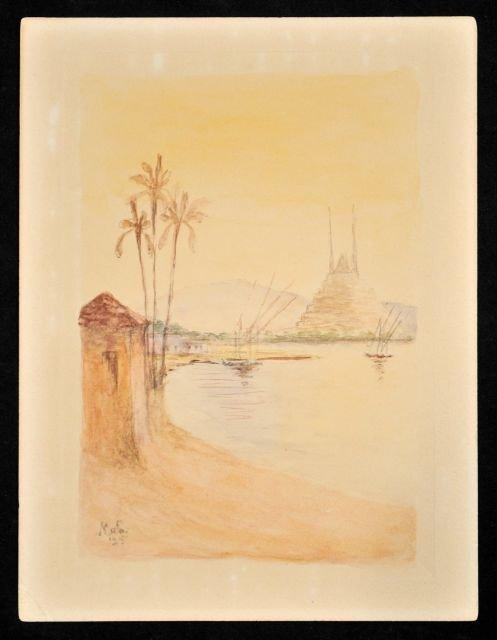 92: Francois Nardi (1861-1936) The Nile, Watercolor on