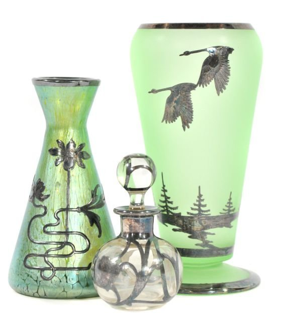 210: Two Silver Overlay Art Glass Vases Together with a