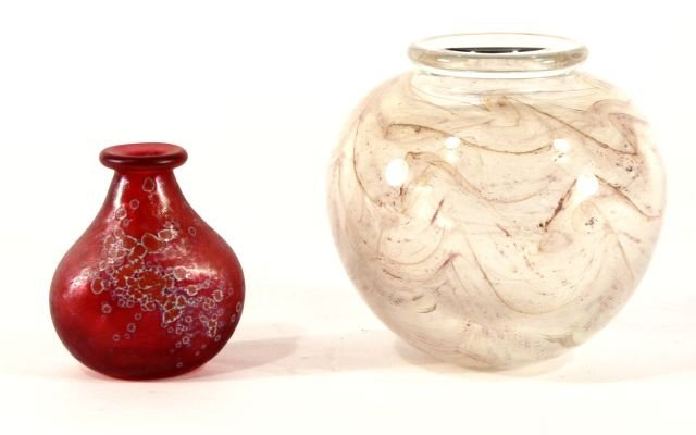 212: A Group of 2 Mark Peiser Glass Blown Vases, 20th C