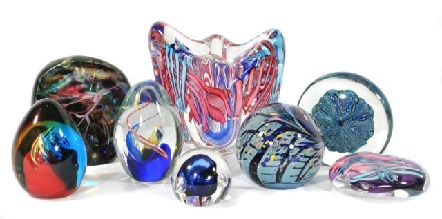 216: A Collection of Art Glass Paperweights and Vases,