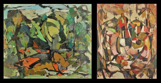 """1: Nathan """"Nate"""" Dunn (1896-1983) Two Abstract Works, O"""