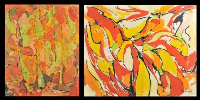 """4: Nathan """"Nate"""" Dunn (1896-1983) Two Abstract Works, O"""
