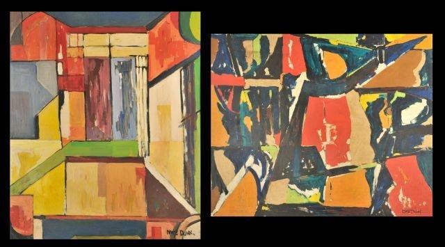 """8: Nathan """"Nate"""" Dunn (1896-1983) Two Abstract Works, O"""