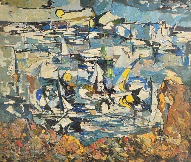 """9: Nathan """"Nate"""" Dunn (1896-1983) Abstract Sail Boats,"""