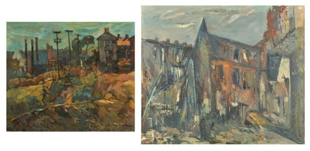 """12: Nathan """"Nate"""" Dunn (1896-1983) Two Scenes of Pittsb"""