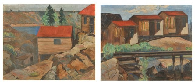 """15A: Nathan """"Nate"""" Dunn (1896-1983) Canadian Cabins (2)"""