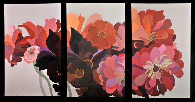 18: Laura Grosch (b.1945) Dahlias and Zinnias Triptych,