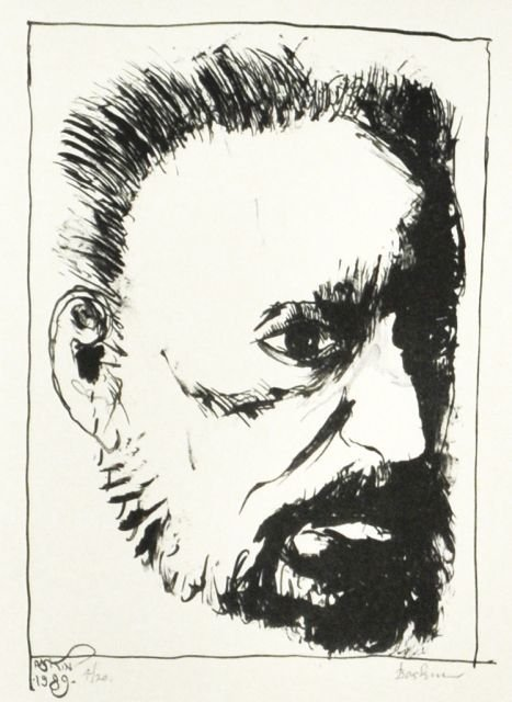 20: Leonard Baskin (1922-2000) Self Portrait, Drypoint