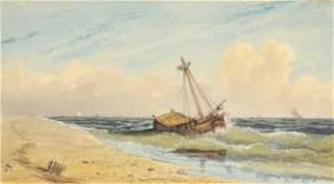 78: George Robert Bonfield (1805-1898) Beach Scene, Wat