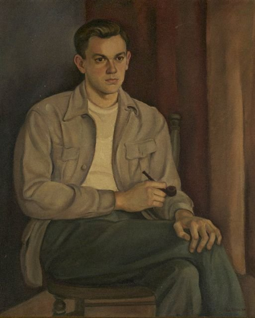 37: La Reau (20th Century) Portrait of a Man, Oil on ca