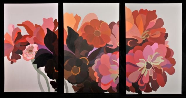 12A: Laura Grosch (b.1945) Dahlias and Zinnias Triptych