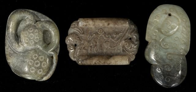 270: A Group of Three Chinese Carved Jade and Hard Ston