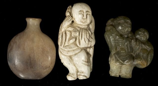 271: A Group of Three Chinese Carved Jade and Hard Ston